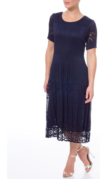 Crinkle Lace Short Sleeve Midi Dress Navy