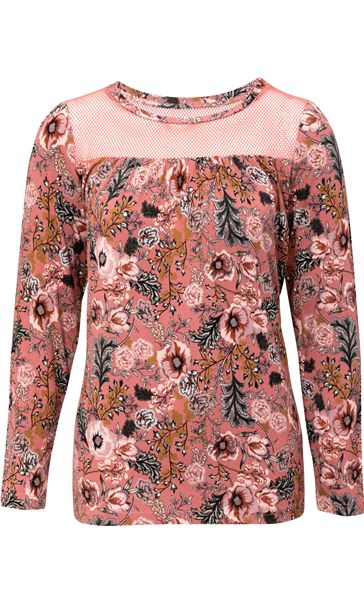 Floral Printed Jersey and Mesh Long Sleeve Top Paprika