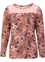 Floral Printed Jersey and Mesh Long Sleeve Top Paprika - Gallery Image 1