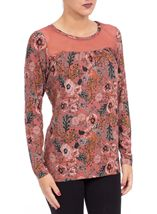 Floral Printed Jersey and Mesh Long Sleeve Top Paprika - Gallery Image 2