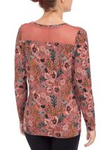Floral Printed Jersey and Mesh Long Sleeve Top Paprika - Gallery Image 3