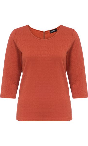 Textured Round Neck Jersey Top Paprika