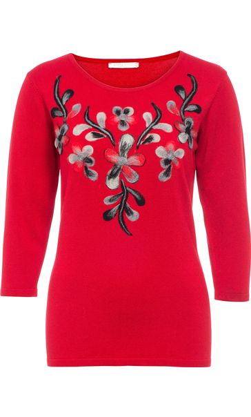 Anna Rose Floral Knit Three Quarter Top Red