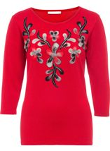 Anna Rose Floral Knit Three Quarter Top Red - Gallery Image 1