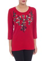 Anna Rose Floral Knit Three Quarter Top Red - Gallery Image 2