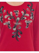 Anna Rose Floral Knit Three Quarter Top Red - Gallery Image 4