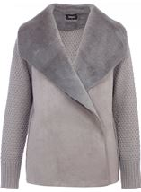 Faux Fur Trim Knit Cardigan Grey - Gallery Image 1