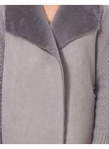 Faux Fur Trim Knit Cardigan Grey - Gallery Image 4