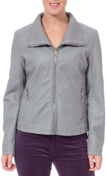 Faux Leather Zip Jacket Pale Grey