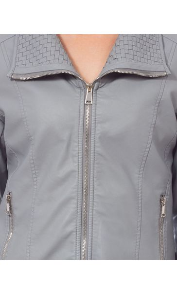 Faux Leather Zip Jacket Pale Grey - Gallery Image 4