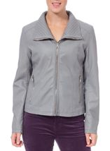 Faux Leather Zip Jacket Pale Grey - Gallery Image 1