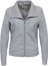 Faux Leather Zip Jacket Pale Grey - Gallery Image 2