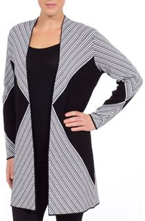 Monochrome Stripe Open Cardigan