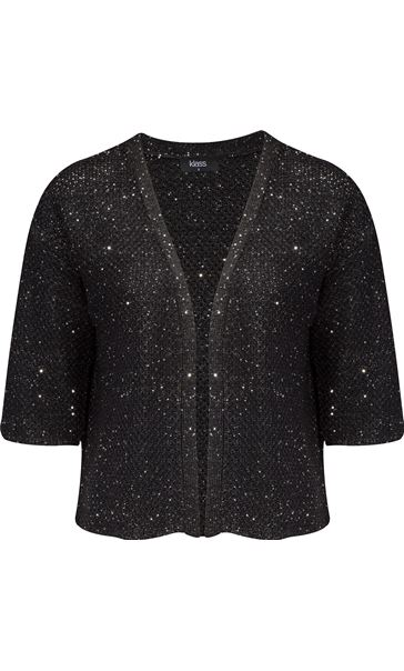 Drop Shoulder Sequin Knit Cover Up Black
