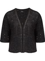 Drop Shoulder Sequin Knit Cover Up Black - Gallery Image 1