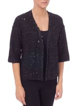 Drop Shoulder Sequin Knit Cover Up Black - Gallery Image 2