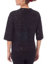 Drop Shoulder Sequin Knit Cover Up Black - Gallery Image 3