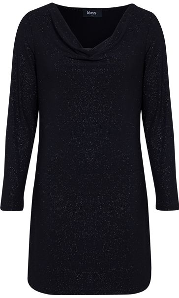 Sparkle Cowl Neck Long Sleeve Tunic Black