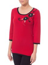 Anna Rose Floral Embellished Knit Top Red - Gallery Image 1