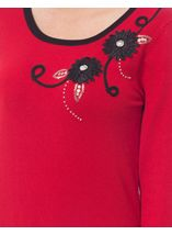 Anna Rose Floral Embellished Knit Top Red - Gallery Image 3