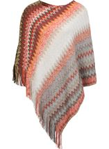 Knitted Chevron Design Poncho Multi - Gallery Image 1