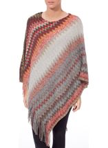 Knitted Chevron Design Poncho Multi - Gallery Image 2