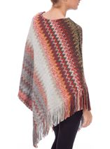 Knitted Chevron Design Poncho Multi - Gallery Image 3