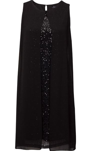 Sleeveless Sequin And Chiffon Layer Midi Dress Black