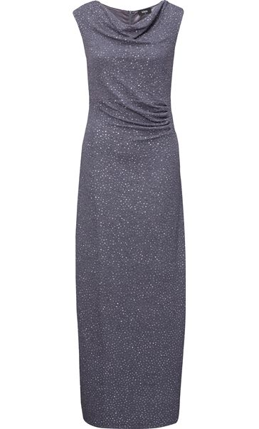 Cowl Neck Sparkle Maxi Dress Grey