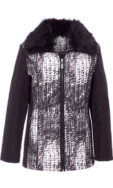 Anna Rose Faux Fur Collar Coat Black/White