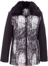 Anna Rose Faux Fur Collar Coat Black/White - Gallery Image 1