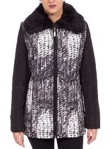 Anna Rose Faux Fur Collar Coat Black/White - Gallery Image 2