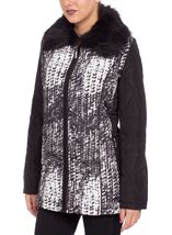 Anna Rose Faux Fur Collar Coat Black/White - Gallery Image 3