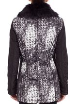 Anna Rose Faux Fur Collar Coat Black/White - Gallery Image 4