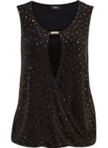Sparkle Sleeveless Cross Over Jersey Top Black - Gallery Image 1