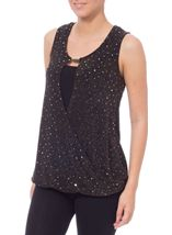 Sparkle Sleeveless Cross Over Jersey Top Black - Gallery Image 2