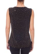 Sparkle Sleeveless Cross Over Jersey Top Black - Gallery Image 3