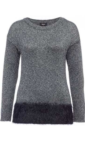 Long Sleeve Sparkle Knit Top Silver/Black