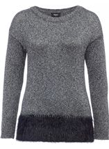 Long Sleeve Sparkle Knit Top Silver/Black - Gallery Image 1