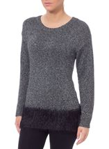 Long Sleeve Sparkle Knit Top Silver/Black - Gallery Image 2