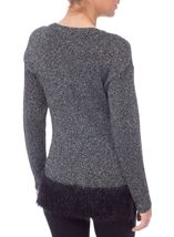 Long Sleeve Sparkle Knit Top Silver/Black - Gallery Image 3