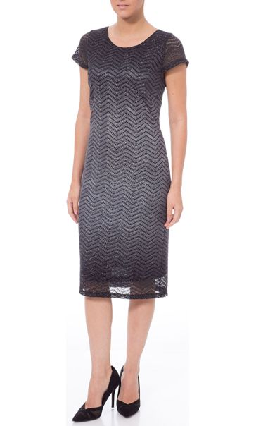 Sparkle Ombre Short Sleeve Shift Dress Black/Silver