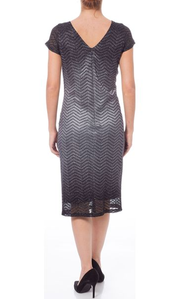 Sparkle Ombre Short Sleeve Shift Dress Black/Silver - Gallery Image 3