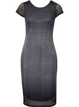Sparkle Ombre Short Sleeve Shift Dress Black/Silver - Gallery Image 2