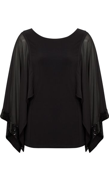 Sequin Trim Chiffon And Jersey Top Black
