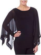 Sequin Trim Chiffon And Jersey Top Black - Gallery Image 2