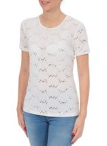Anna Rose Textured Sparkle Short Sleeve Top Optic White - Gallery Image 2