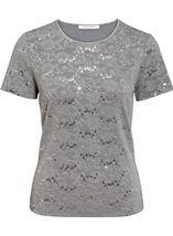 Anna Rose Textured Sparkle Short Sleeve Top Silver - Gallery Image 1