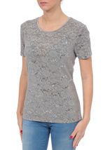 Anna Rose Textured Sparkle Short Sleeve Top Silver - Gallery Image 2
