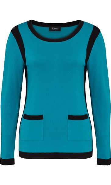 Colour Block Round Neck Knit Top Kingfisher/Black